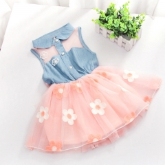 2018 New Baby Children Cowboy Sleeveless Beautiful Princess Dress Sheer Mini Party Lolita Style pink 90cm