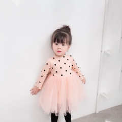 Kid Girls Princess Baby Dress Newborn Infant Baby Girl Clothes Bow Dot Tutu Ball Gown Party Dresses pink 80cm