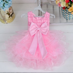 Lace flower girls wedding dress baby girls for party occasion kids 1 year baby girl birthday dress pink 3M