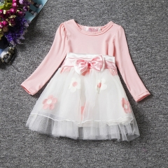 2018 Kids Dresses for Girls Winter Cotton Flower Baby Dress Clothes 1 year Newborn Girl Clothing pink S