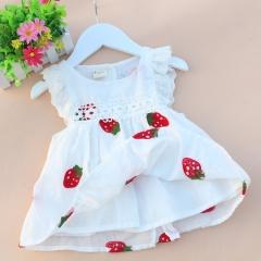 Baby Girl Dress Fruit Dresses For Girls Cotton Print Sleeveless Dress Baby Princess Infant Clothing Strawberry 80cm-8