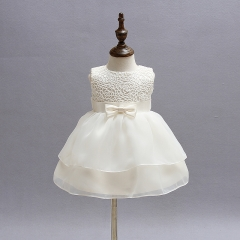 Vintag Baby Girl Wedding Pageant Dress Infant Princess Little Girls 1 Year Birthday Party Dress beige 3m:0-6month