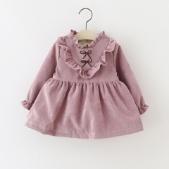 2018 New cotton Kids clothes Girls long-sleeved Girls baby dress baby clothing dress vestidos purple red 70cm