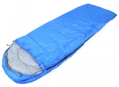 Envelope Sleeping Bag Foldable Water Resistance Hooded Cotton For Outdoor Camping Travel blue (180cm+30cm)×75cm