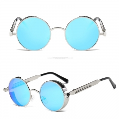 Round Metal Sunglasses Steampunk Men Women Fashion Glasses Brand Designer Retro Vintage Sunglasses silver frame blue mirror lens 135MM
