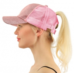 Glitter Ponytail Baseball Cap Women Hat Summer Messy Bun Mesh Hats Casual Adjustable Sport Caps pink