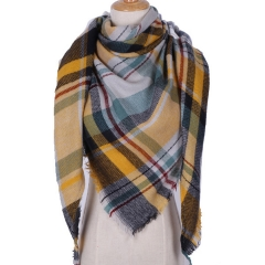 2018 Winter Triangle Scarf For Women Brand Designer Shawl Cashmere Plaid Scarves colour 002