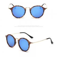 2018 New Arrival Round Sunglasses Retro Men women Brand Designer Sunglasses Vintage coating mirrored colour 001 149mm