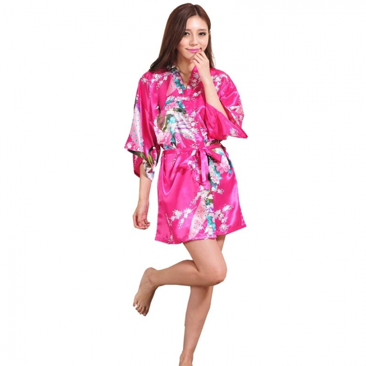 Wedding Bride Bridesmaid Robe Floral Bathrobe Short Kimono Robe Night Robe  Bath Robe Fashion color12 xxxl f3c600b5c