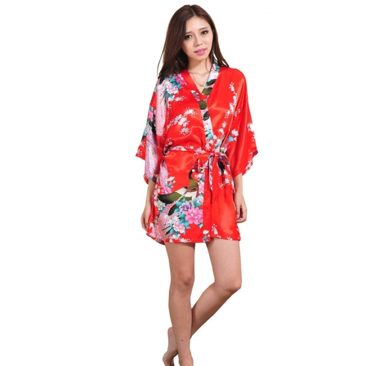 Wedding Bride Bridesmaid Robe Floral Bathrobe Short Kimono Robe Night Robe  Bath Robe Fashion color4 M 91043947b