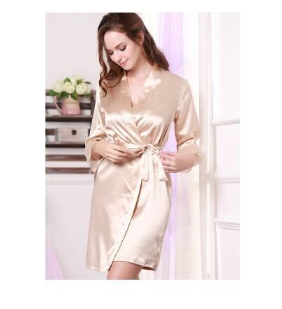 d01206d3cbdd Women Silk Satin Short Night Robe Solid Kimono Robe Fashion Bath Robe Sexy Bathrobe  Khaki m