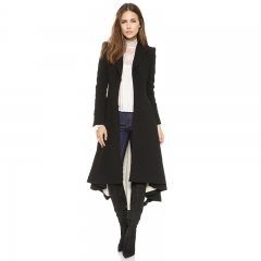 Autumn Women Coat European style Long Sleeve Casual Trench Coat Long Dovetail Fashion Slim black S