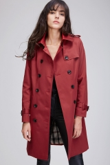 2018 Autumn New Woman Classic Double Breasted Trench Coat Waterproof Raincoat Business Outerwear red S