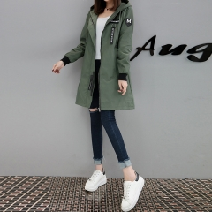 2018 New Spring Autumn Trench Coat Women Causal Long Sleeve With Hood Medium Long army green s