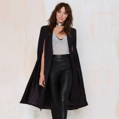 2018 Casual Open Front Windbreaker Cloak Split Lightweight Trench Coat Cape Party Fasion Blazer black s