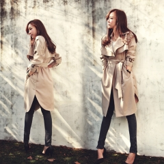 2018 fashion Casual women's khaki Trench Coat long Outerwear loose clothes for lady with belt khaki s