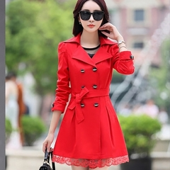 2018 Trench Coat For Women Spring Coat Double Breasted Lace Autumn Outerwear red m