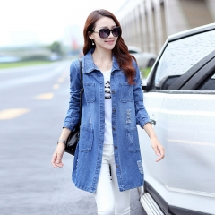 2018 Long Denim Jacket Women Vintage Slim Autumn Winter Outerwear Fashion Single Breasted Photo Color s
