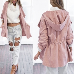 Women's Casual Hooded Windbreaker Turndown Outerwear Coat Solid Trench Belt Slim Tops Coat pink s