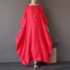 Womens Crewneck Batwing Sleeve Baggy Maxi Long Shirt Dress Casual Party Kaftan Solid Robe Vestido red l