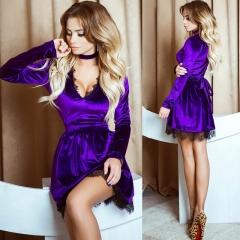 2018 Women Lace Velvet Dress Halter Deep V-Neck Long Sleeve Lace Dress Sexy Casual Mini Velour Dress s purple