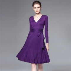 2018 Dresses For Women Decorative Sashes V-Neck Solid Plus Size Vintage    Elegant Winter Dress One size dark purple