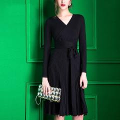 2018 Dresses For Women Decorative Sashes V-Neck Solid Plus Size Vintage    Elegant Winter Dress One size black