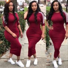 2018 Women Half Sleeve Plus Size Dress Sexy High Waist Long  Stripe Streetwear s wine red