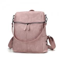 Simple Style Backpack Women PU Leather Backpacks For Teenage Girls School Bags Fashion pink 28cm×13cm×36cm