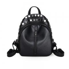 Small Women Backpacks Rivet Zipper Pu Leather Student Backpack Fashion Bag Girls Women's Backpack black 21cm×10cm×24cm