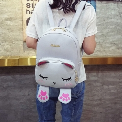 Women Leather Backpacks for Teenage Girls Funny Cats Ears Canvas Shoulder Bags Female blue 24cm×17cm×32cm