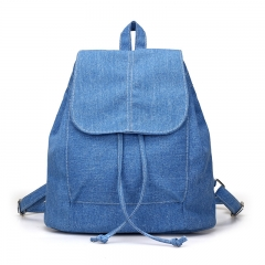 2018 New Denim Canvas Women Backpack Drawstring School Bags For Teenagers Girls Small Backpack blue 29cm×17cm×28cm
