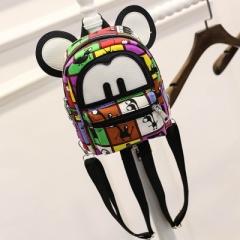 2018 New Mickey Backpack Pu Leather Female Mini Bag Women's Backpack Sweet Bow Teen Girls Backpacks colour01 19cm×9cm×21.5cm