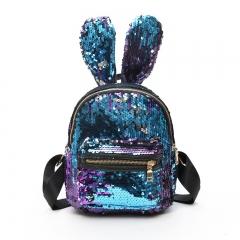 Mini Sequins Backpack Cute Rabbit Ears Shoulder Bag For Women Girls Travel Bag  Shiny Backpack colour01 21cm×9cm×24cm