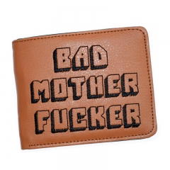 Wallet with zipper Coin Pocket Bad Mother Letters Boys Wallet Card Holder Vintage Gift Purse colour01 11.5cm×9cm