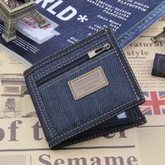 Vintage Denim Blue Jeans Canvas Wallets Women /Gift for Boyfriend Short Zipper Coin Bag Purses Dark blue 11cm×10cm×1cm