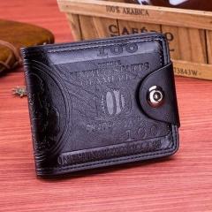 Small Leather Men Wallets Short Dollar Price Wallet Clutch Money Purse Men Bag High Quality Credit black 12cm×10cm×2.5cm