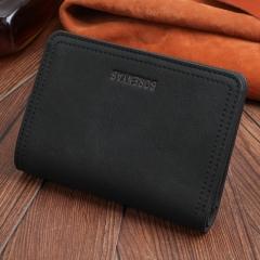 2018 Brand Men Design Short Small Wallets Male Vintage PU Leather Coin Pocket Card Holder Wallet black 13.5cm×9.5cm×1.5cm