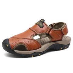 Leather Summer Soft Male Sandals Shoes For Men Breathable Light Beach Casual Quality Walking Sandal Red Brown 38
