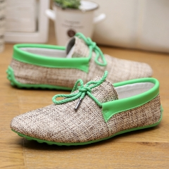 Men Shoes Summer Breathable Fashion Weaving Casual Shoes Soft Lace-up Comfort Men's Loafers Driving green 39