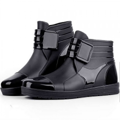 waterproof rain boots waterproof flat with shoes men rain unisex water rubber ankle boots buckle black 39