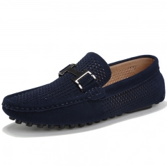 2018 Leather Loafers Leather Driving Moccasins Slip on Shoes Men Comfortable and breathable Dark blue 38