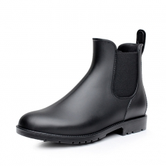 Men rubber rain boots fashion black chelsea boots casual lovers slip-on waterproof ankle moccasins black 38