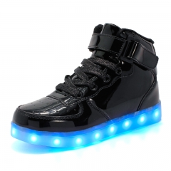 shoes for adults casual shoes with luminous shoes men plus size light up neon male shoes fast ship black 35