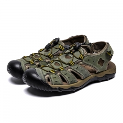 Men Sandals Genuine Leather Summer Hollow Breathable Non-slip Casual Outdoors Beach Shoes Large size Army Green 38