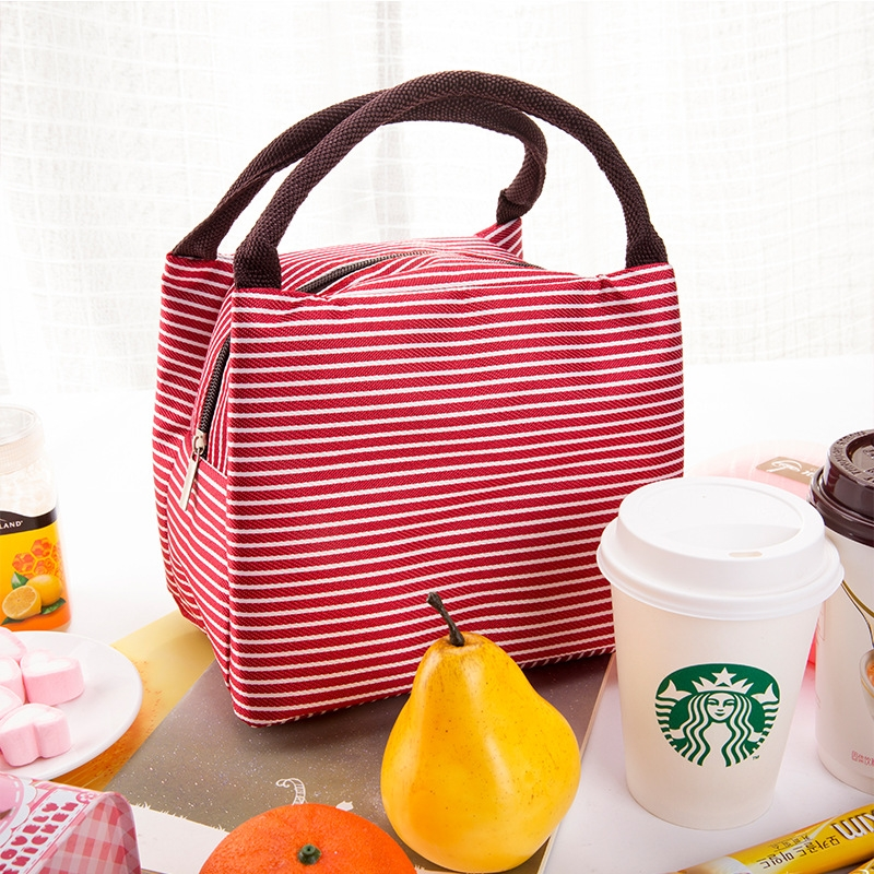 Lunch Bag Canvas Stripe Insulated Cooler Bags Thermal Food Picnic Lunch Bags Kids Lunch Box Bag Tote Red Stripe 23cm 15cm 17cm