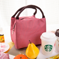 Lunch Bag Canvas Stripe Insulated Cooler Bags Thermal Food Picnic Lunch Bags Kids Lunch Box Bag Tote Red stripe 23cm×15cm×17cm