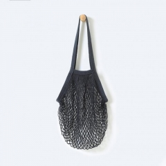 Fishnet Shopping Bags Shopper Tote Mesh Net Woven Cotton Shoulder Bag Fashion Beach bag black 30cm×53cm