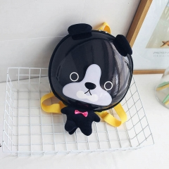 Cute Animal Design Backpacks Kids School Bags For Primary Girls Boys Cartoon PU Children Backpacks black 23cm×23cm×8cm