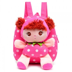 Kids Cartoon Baby Girls Cotton 3D School Bags Children Stuffed Plush Toys School Backpack Rucksack red 23cm×25cm×7cm